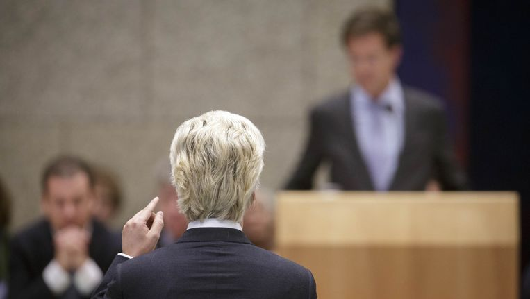 PVV-leider Geert Wilders in debat met permier Rutte. Beeld null