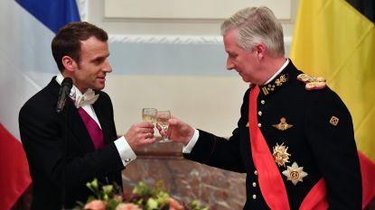 Macron waagt zich aan enkele woorden Nederlands tijdens speech bij de koning