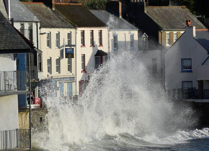 Ook in Cornwall, in het zuidwesten van Groot-Brittannië zorgde storm Ellen voor wateroverlast.