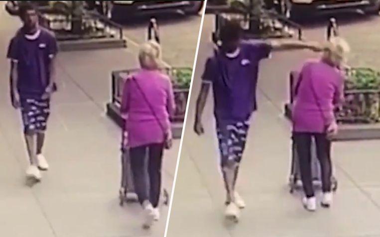 De vrouw is nietsvermoedend aan het wandelen wanneer een voorbijganger haar plots tegen het hoofd duwt.