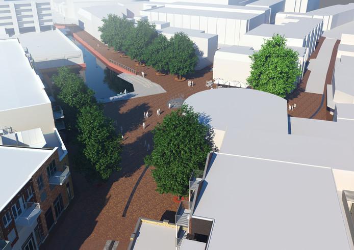 Een artists impression van het toekomstige marktplein, met links de havenkom. De ronde constructie rechts is de Trommel.