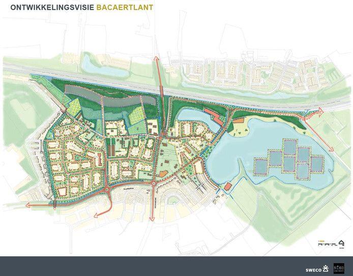 Een eerste schets van de nieuwe wijk die nu nog als werktitel Backaertlant heeft.