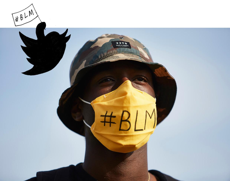 Een demonstrant in Den Haag bij een Black Lives Matter-protest. Beeld Getty Images, illustratie: Studio V