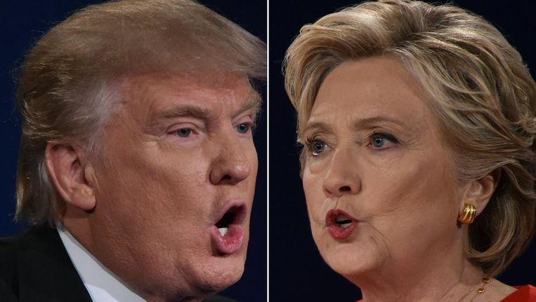 Combinatie van foto's die gemaakt werden tijdens het eerste presidentiële debat op de Hofstra-Universiteit in Hampstead op 26 september. Beeld anp