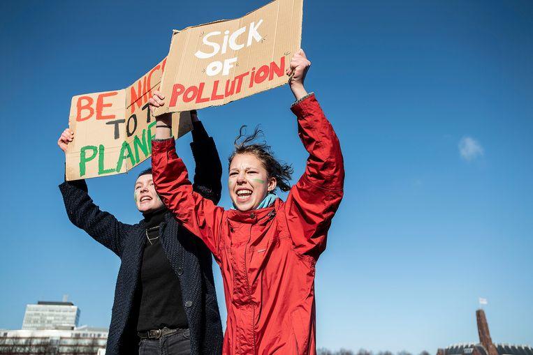 Naar schatting 30 duizend leerlingen demonstreerden begin dit jaar in Den Haag. Beeld Guus Dubbelman / de Volkskrant