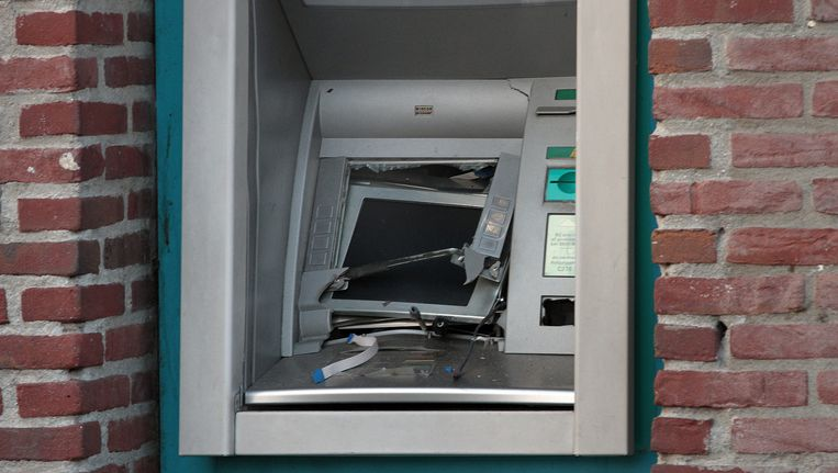 Een pinautomaat na een plofkraak in Nieuwegein. Beeld ANP