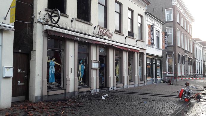 Grieks restaurant Irodion in Roosendaal na de brand.