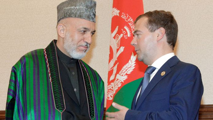 Karzai met de Russische president Dmitry Medvedev.