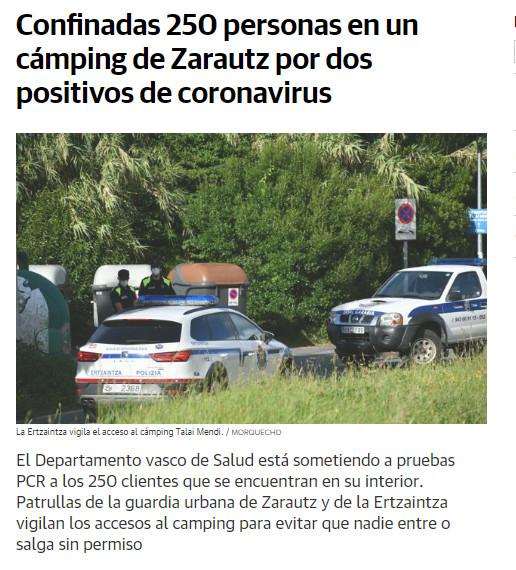 De lockdown werd breed uitgemeten in de Baskische lokale krant El Diario Vasco