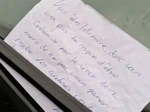L'odieux message laissé sur le pare-brise d'une infirmière française
