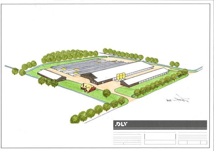 Zo zal het nieuwe complex aan de Eikenstraat er ongeveer uit komen te zien. Vooraan de boerenwoning. Foto: Nillustratie Middachten