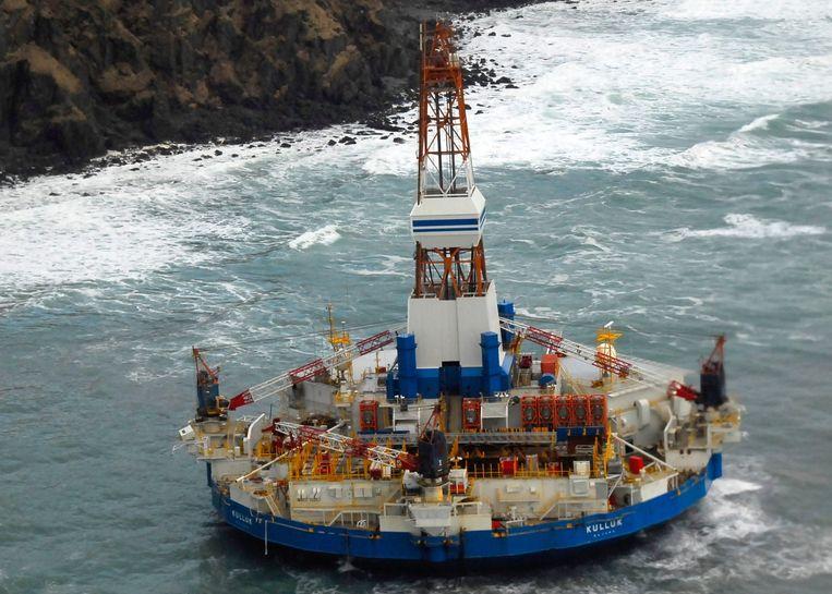De Kulluk, het boorschip van Shell dat boven Canada naar olie boorde. Beeld afp