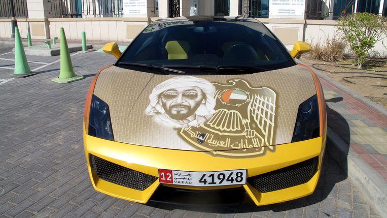 Lamborghini met de beeltenis van sjeik Zayed. Beeld Iñaki Oñorbe Genovesi