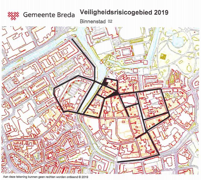 Het gebied in Breda waar preventief fouilleren plaatsvindt.