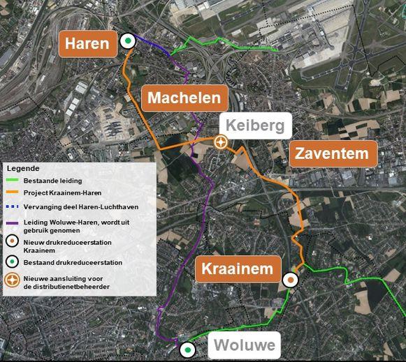 De nieuwe aardgasleiding loopt van Haren tot in Kraainem.