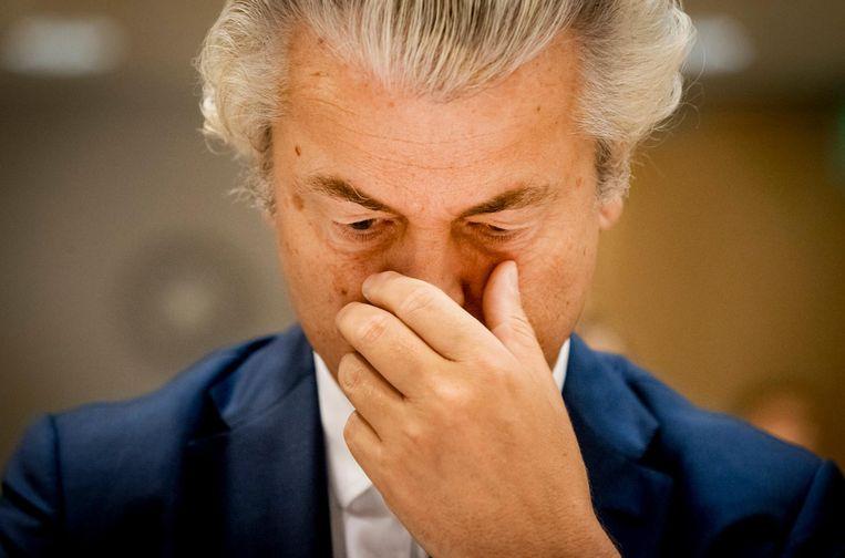 Geert Wilders tijdens zijn strafzaak. Beeld anp