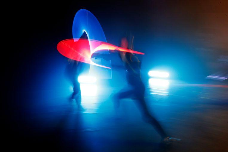 Een lichtsabeltoernooi in Beaumont-sur-Oise, ten noorden van Parijs eerder deze maand. De Franse schermbond erkent nu officieel het lichtsabelduel als een sport.
