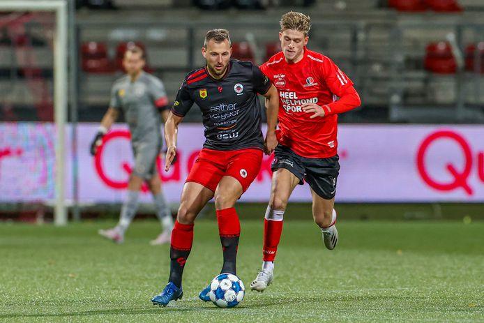 Jelle Goselink stond maandag in de bekerwedstrijd tegen Excelsior voor het eerst in de basis bij Helmond Sport.