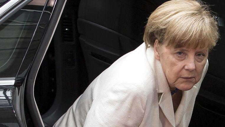 Bondskanselier Angela Merkel arriveert voor het topoverleg van regeringsleiders. Beeld anp
