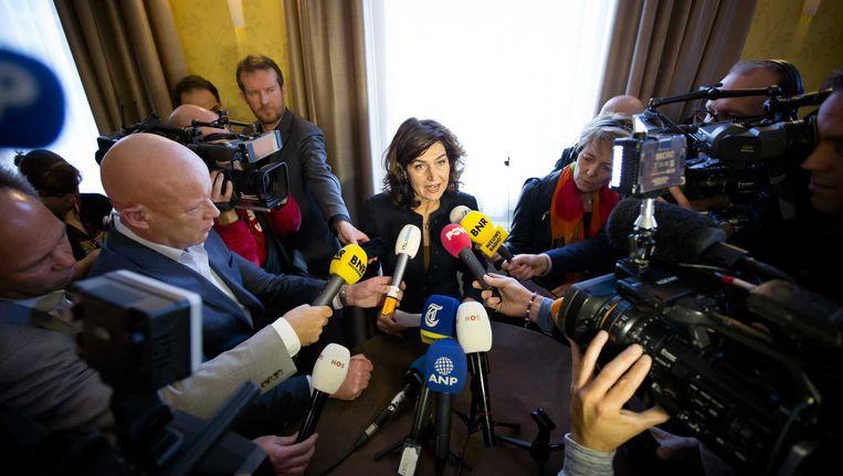 Kamervoorzitter Anouchka van Miltenburg geeft na afloop van de Presidiumvergadering een verklaring, 12 november. Beeld anp