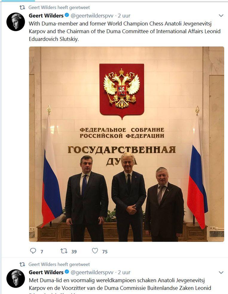tweet Geert Wilders in Rusland Beeld RV