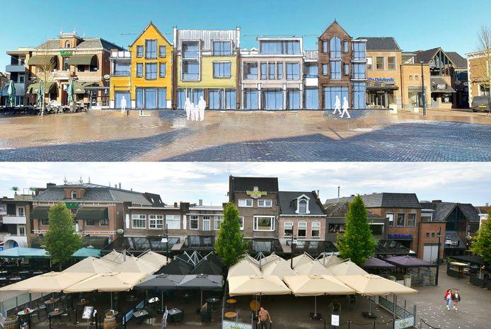 Horecapanden aan de Groote Markt, tussen café Markant en de ondergang naar De Driehoek, die allemaal gesloopt zouden moeten worden aan als het plan Grandeur van Marcel Willemsen uitgevoerd gaat worden.