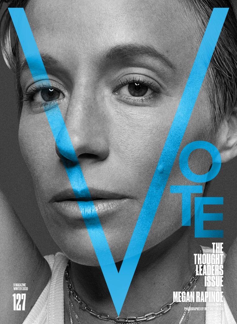 De Amerikaanse voetbalster Megan Rapinoe op de cover van het votenummer van V Magazine. Beeld V Magazine