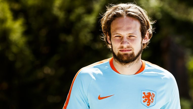 Daley Blind dinsdag tijdens de training van Oranje in Katwijk, ter voorbereiding op het WK-kwalificatieduel met Wit-Rusland op vrijdag 7 oktober. Beeld null