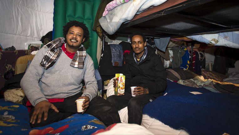 Twee uitgeprocedeerde asielzoekers op hun stapelbed in de Vluchtkerk in Amsterdam. Beeld anp