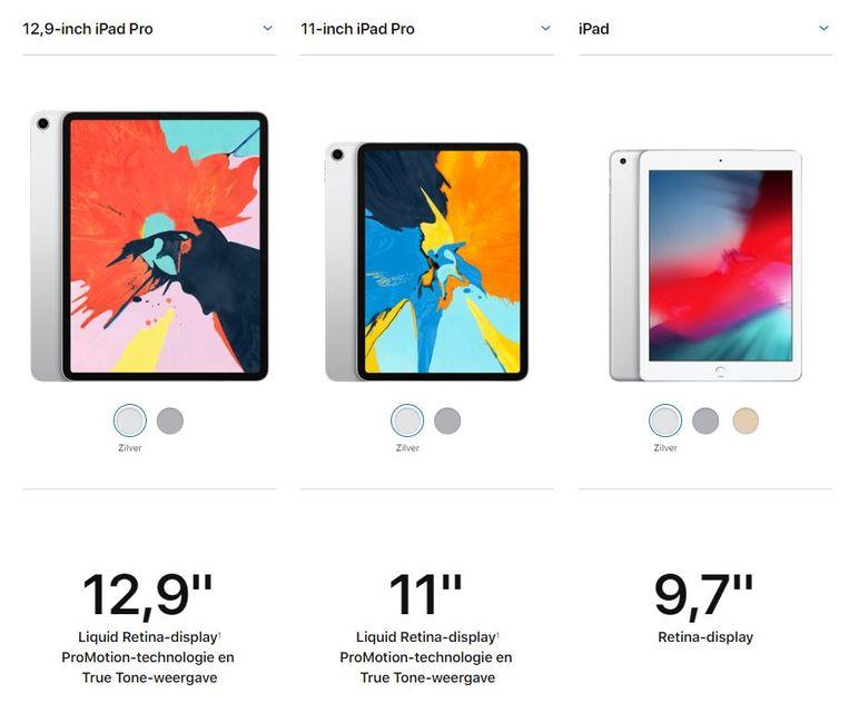 De twee nieuwe iPad Pro's naast (rechts) de 9,7 inch gewone iPad met homeknop, die nog leverbaar blijft. Beeld Apple