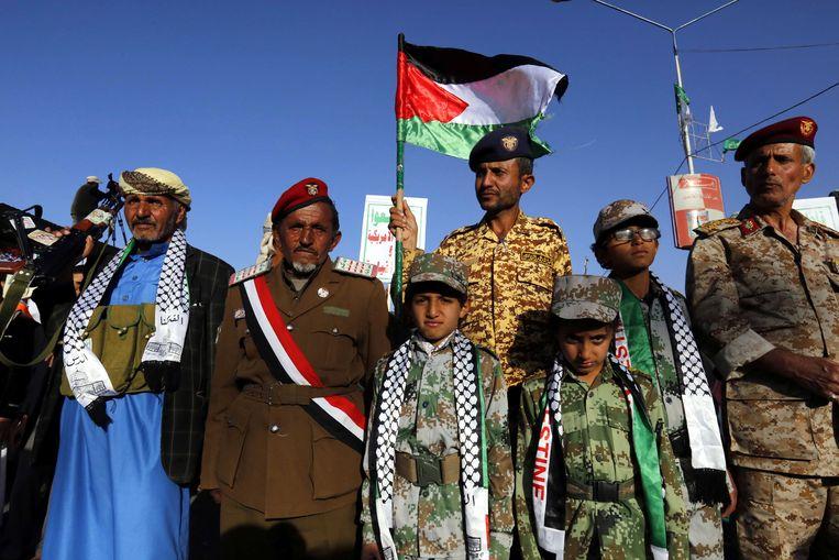 Ook in Jemen, waar een bloederige burgeroorlog woedt, werd gedemonstreerd tegen het besluit van Trump. Beeld EPA