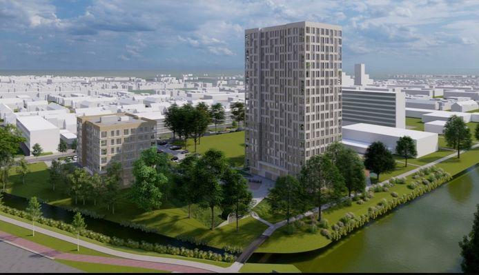De negentien verdiepingen hoge woontoren werpt, vinden de bezwaarmakers, een schaduw over de wijk Liendert.