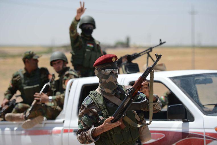 Het peshmerga-leger nadat ze Makhmur binnen vielen. Beeld getty