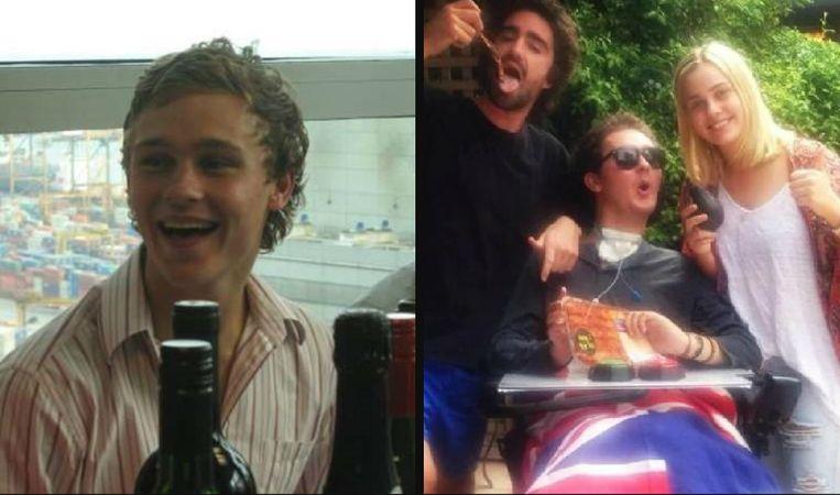Links: Sam Ballard was een veelbelovende rugbyspeler. Rechts: Sam in zijn vertrouwde rolstoel, in het gezelschap van zijn vrienden.