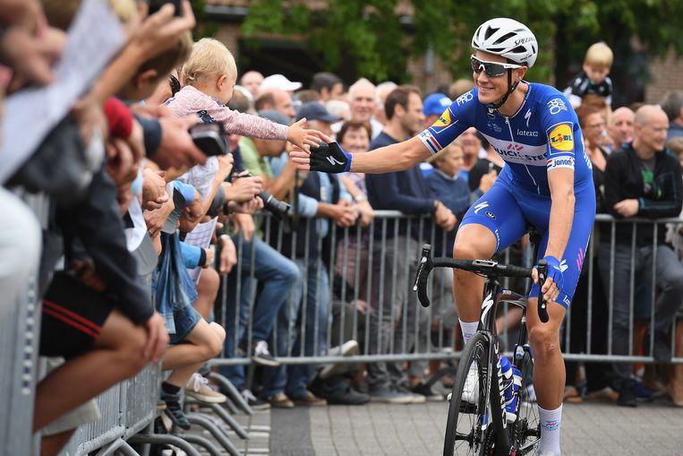 Nikin Terpstra bij de start van de derde Etappe van de Binckbank Tour. Beeld BELGA