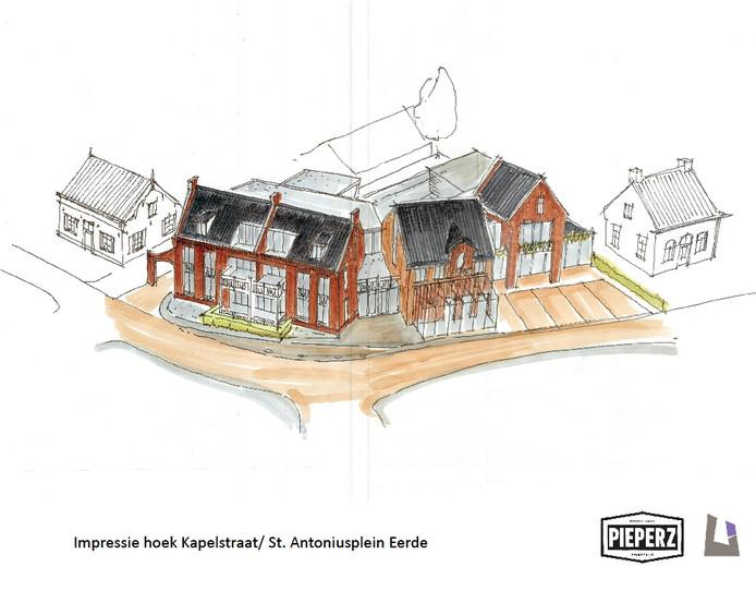 Het bouwplan met zes appartementen op de plek waar nu café/zaal De Driesprong in Eerde is gevestigd. Rechts met nieuwe serre ervoor frietzaak Pieperz.
