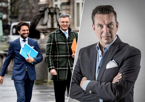 Informateurs Georges-Louis Bouchez en Joachim Coens / Het Laatste Nieuws-analist Jan Segers.