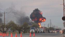 Vuurbal door ontploffing bij hevige brand in Texas