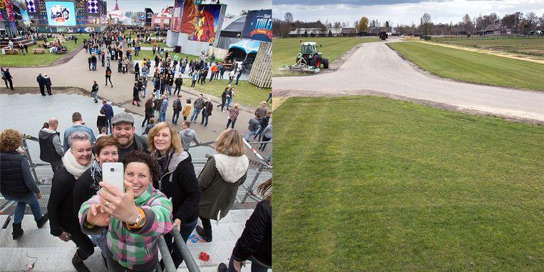 Paaspop links in 2017, rechts hoe de plek er op 3 april bij lag Beeld Werry Crone