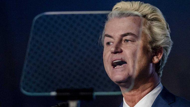 PVV-politicus Geert Wilders spreekt op een colloquium van de Beweging voor Naties en Vrijheid, de Europese overkoepelende partij waar onder meer het Vlaams Belang deel van uitmaakt. Beeld ANP