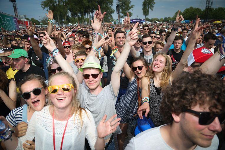 Festivalgangers op de wei van Werchter.