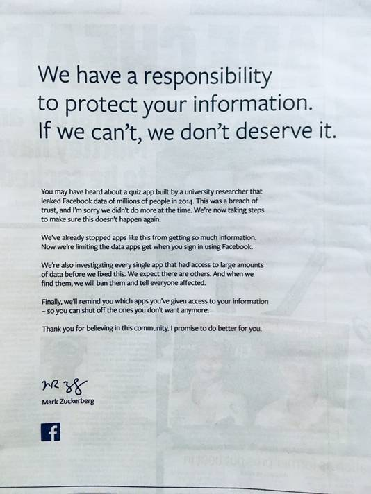 Mark Zuckerberg maakte in een paginagrote advertentie zijn excuses