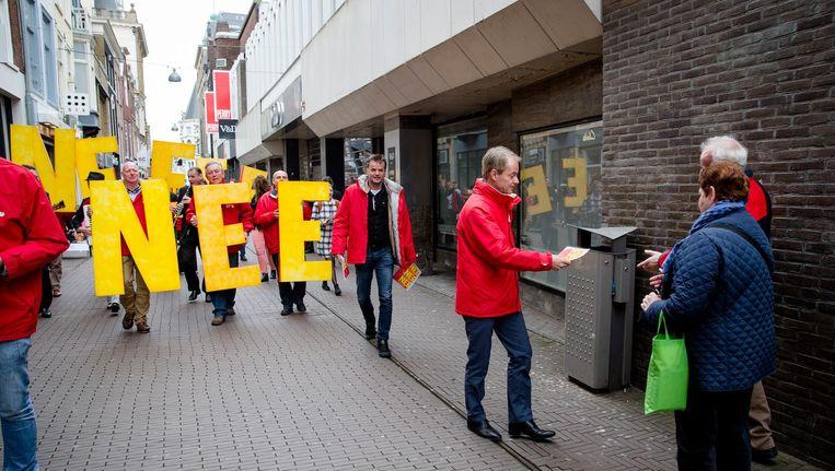 Een SP-demonstratie eerder dit jaar tegen het associatieverdrag tussen de EU en Oekraïne. Beeld anp