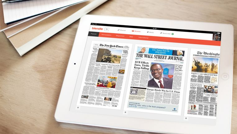 Zo ziet het er straks uit als de drie kranten beschikbaar zijn Beeld Blendle