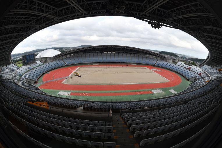 Het Miyagi Stadion waar voetbalwedstrijden worden gespeeld. Beeld Kazuhiro NOGI / AFP