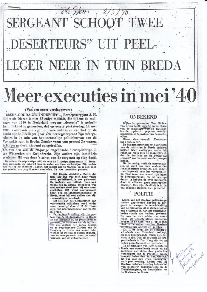Een artikel uit BN DeStem over de executie.