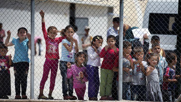 Kinderen in het Syrische vluchtelingenkamp Nizip in het Turkse Gaziantep. Beeld anp