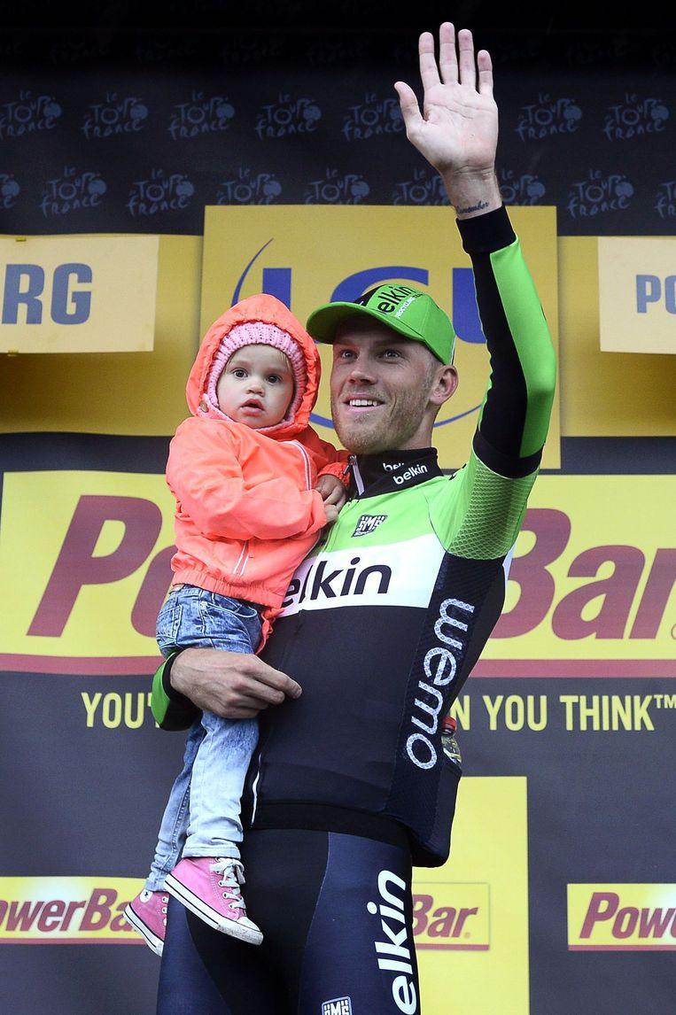 Lars Boom won een etappe in de Tour de France dit jaar. Beeld anp