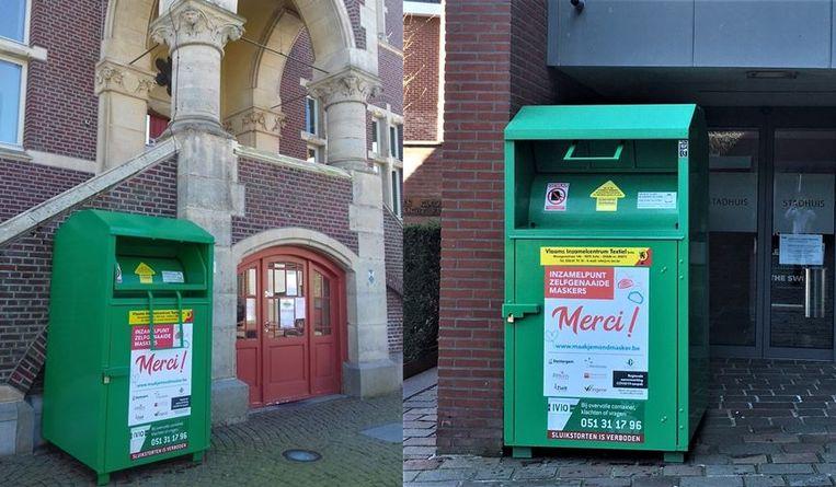 De inzamelcontainers aan het stadhuis van Tielt en aan het gemeentehuis van Ruiselede
