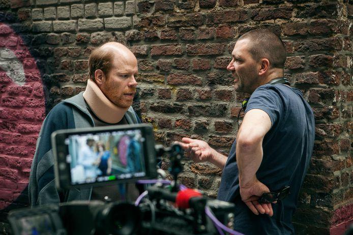 Hoofdrolspeler Bruno Vanden Broecke en regisseur Theo Maassen tijdens de opnames van 'Billy', zijn regiedebuut.